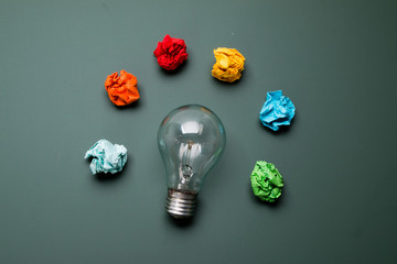 bulb with colorful crumpled paper
