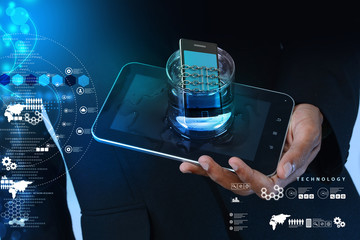 Smart phone with chain in glass, safety concept