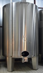 Stainless steel wine tanks in Champagne - France.