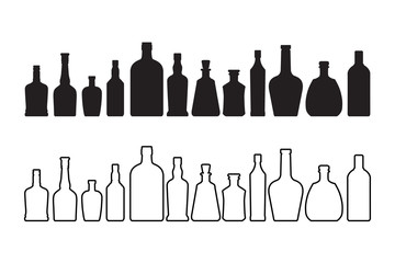 Wine and whiskey bottle icon isolated on white