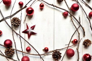 Red Christmas ornament balls with star