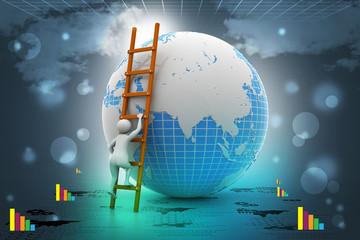 Earth globe and ladder