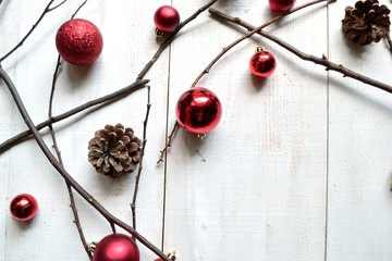 Red Christmas ornament balls with pine cones