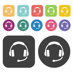 Headphones icons set.  Illustration eps10