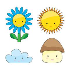 Flower, sun, cloud, mushroom set