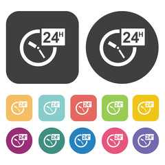 Open 24 hours a day icons.  Illustration eps10