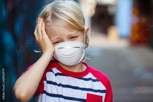 Sick boy wearing face mask - 68906979