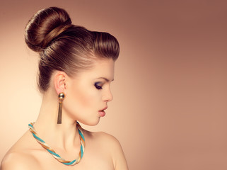 Close-up of glamour Caucasian model with stylish hairdress