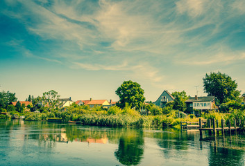 Beautiful houses by the river