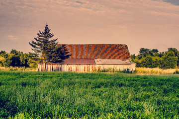 Countryside scenery with an old barn
