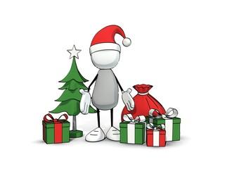 little sketchy man with santa hat at christmas
