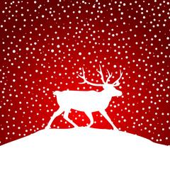 Hintergrund mit Rentier und Schneeflocken