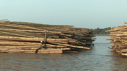 Side of bamboo rafts on the mekong towed by a boat (4)