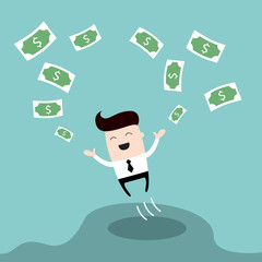 Happy businessman jumping surrounded by money