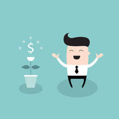 Happy businessman with dollar plant