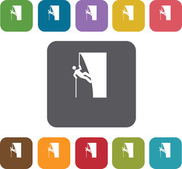 Hiking climbing icons set. Rectangle colorful 12 buttons. Illust