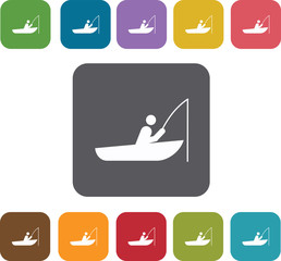 Fishing icons set. Rectangle colorful 12 buttons. Illustration e