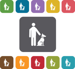 Man Dog Training Playing icons set. Rectangle colorful 12 button
