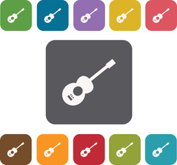 Guitar icons set. Rectangle colorful 12 buttons. Illustration ep