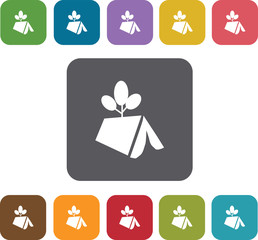 Tents icons set. Rectangle colorful 12 buttons. Illustration eps