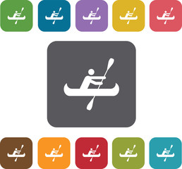 boats and kayaks icons set. Rectangle colorful 12 buttons. Illu