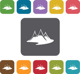 Mountain icons set. Rectangle colorful 12 buttons. Illustration