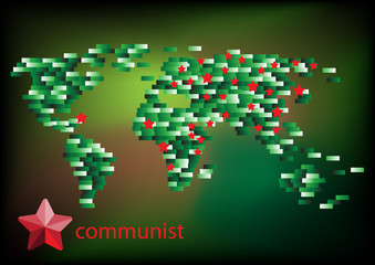 Russian or Communist and world map vector illustration