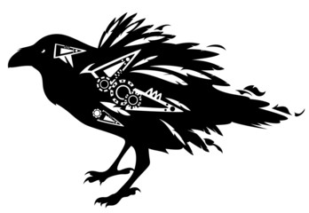 black raven bird  tribal design