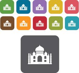 Taj mahal Icons Set. Illustration eps10
