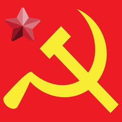Russian or Communist flags hammer and sickle, vector illustratio
