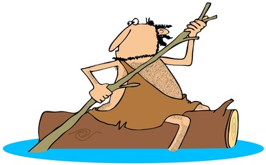 Caveman straddling a log