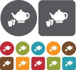 Japan Tea icons set. Round and Rectangle colorful 12 buttons. Il