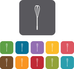 Whisk Cooking and kitchen icons set. Rectangle colorful 12 butto