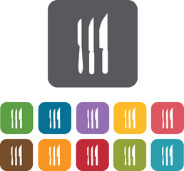 Kitchen knives icons set. Rectangle colorful 12 buttons. Illustr