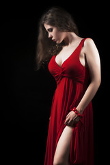 Beautiful Young Woman In Elegant Red Dress