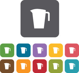 Cooking and kitchen icons set. Rectangle colorful 12 buttons. Il