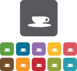 Coffee cup icons set. Rectangle colorful 12 buttons. Illustratio