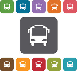 Bus stop Map Icons and Location Icons set. Rectangle colorful 12