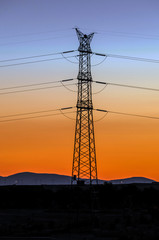 Electricity tower at evening