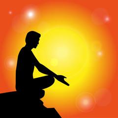silhouette che medita su sfondo astratto