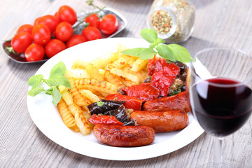 Red wine and sausage with potato