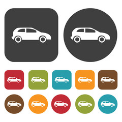Car Travel and vacation summer icons set. Round and Rectangle co