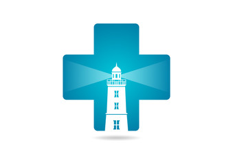 cross medicine lighthouse logo