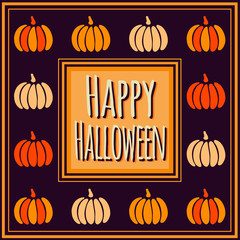 Violet Happy Halloween square frame with colorful pumpkins