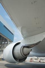 Close up of aircraft Jet Engine