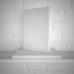 Blank book on shelf