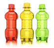 Colored bottles with drinks