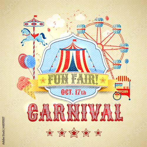 Vintage carnival poster - 68911107