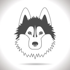 black image of a dog on a gray background
