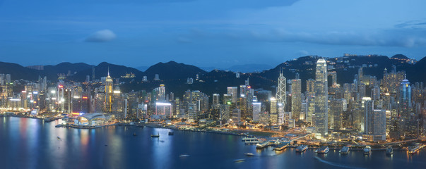 Panorama of Hong Kong at dusk